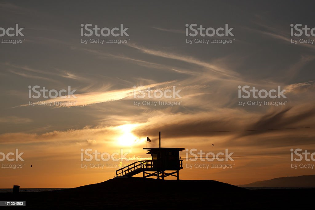 Santa Monica lifeguard station at sunset royalty-free stock photo