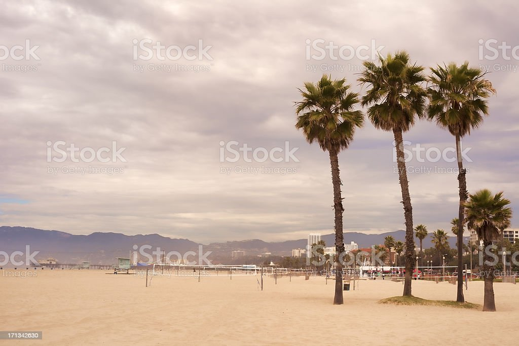 Santa Monica Pier and beach royalty-free stock photo