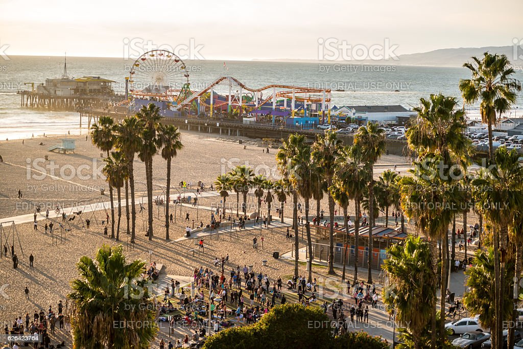 Santa Monica Pier and Muscle Beach, CA, USA stock photo
