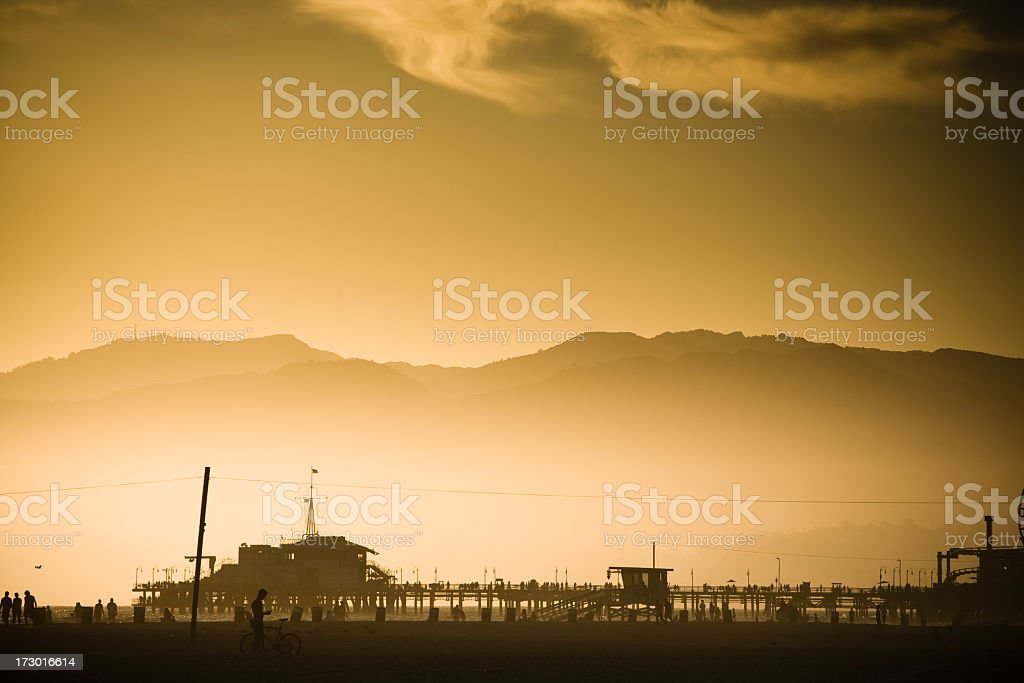 Santa Monica Pier at Dusk royalty-free stock photo