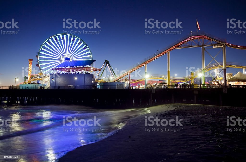 Santa Monica Pier at Night stock photo