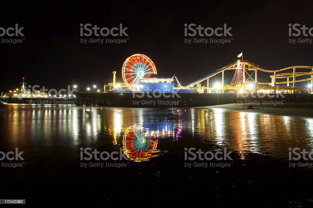 Santa Monica Pier at Night royalty-free stock photo