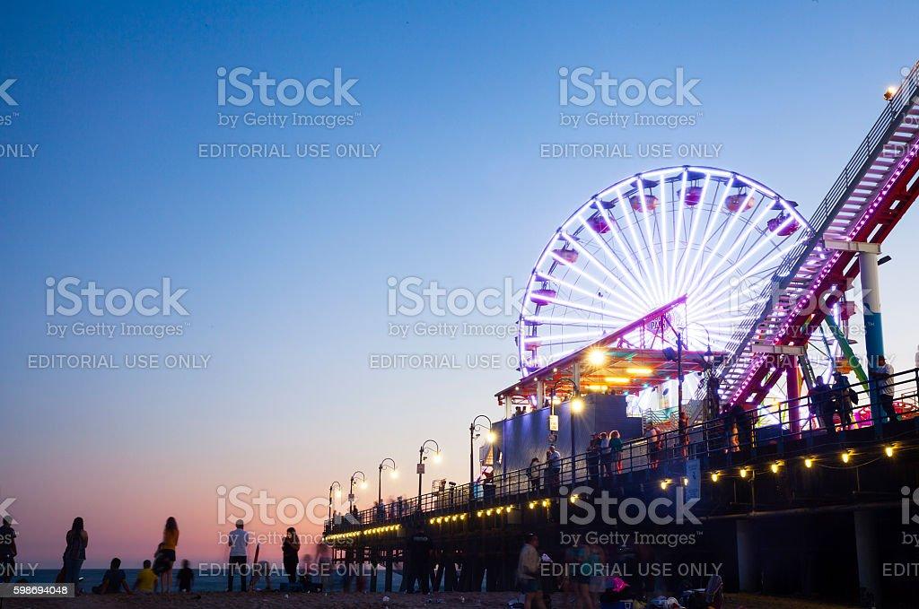 Santa Monica Pier at night stock photo