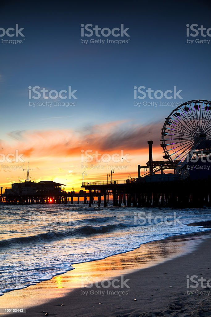 Santa Monica Pier at sunset. stock photo