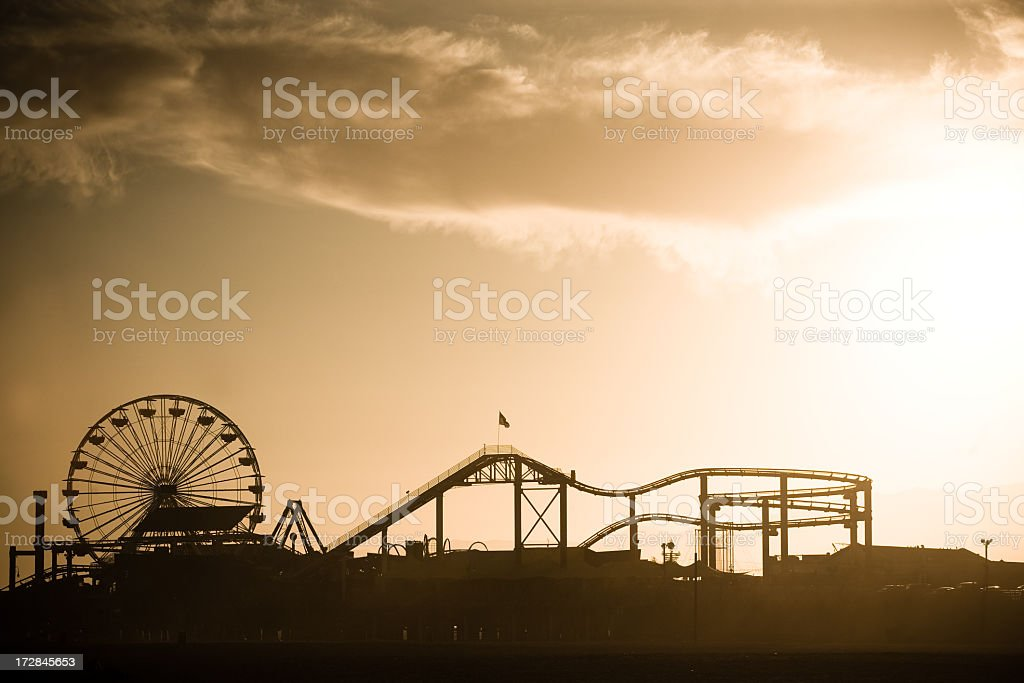 Santa Monica Pier at Sunset stock photo