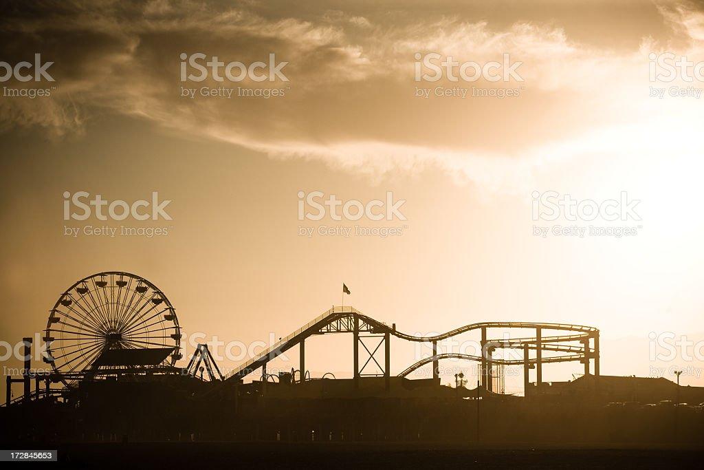 Santa Monica Pier at Sunset stock photo