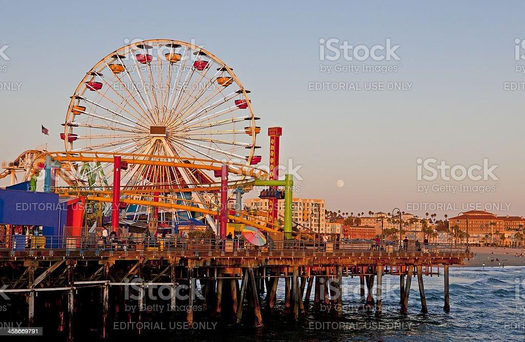Santa Monica Pier at sunset royalty-free stock photo