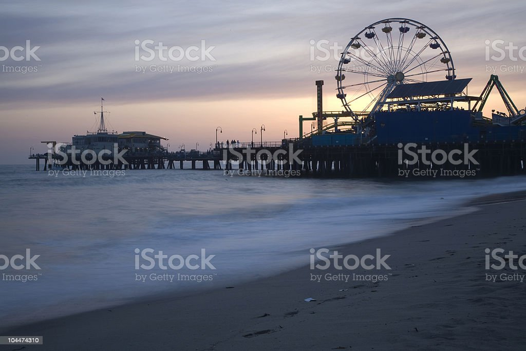Santa Monica Pier Dusk royalty-free stock photo