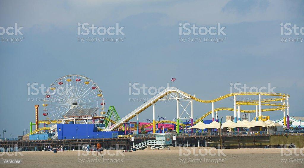 Santa Monica, Pier, Ferris Wheel and Roller Coaster royalty-free stock photo