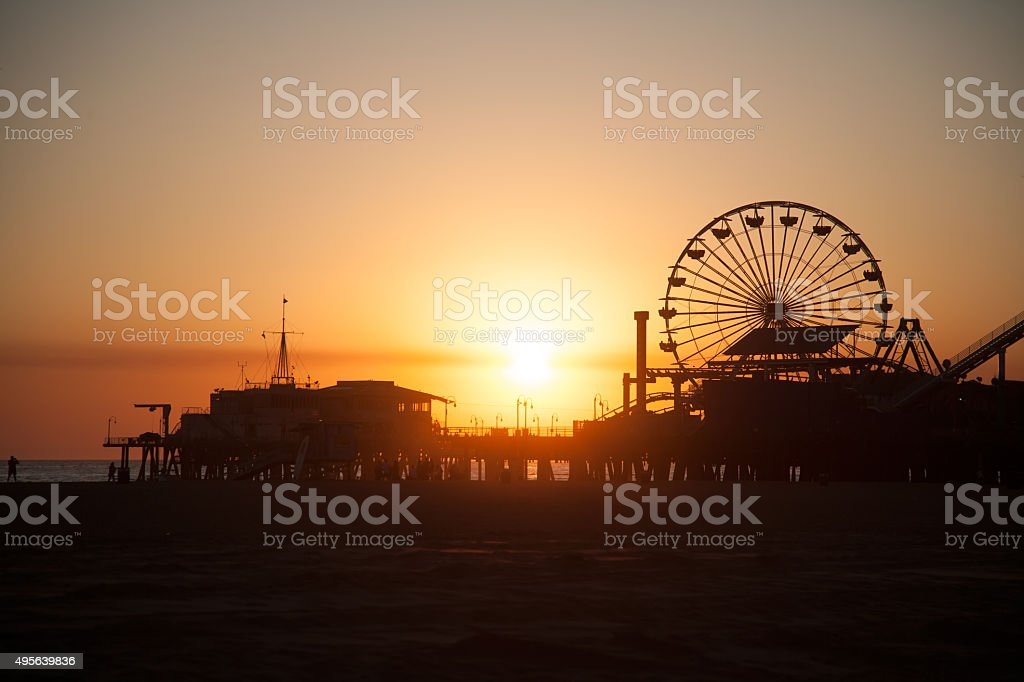 Santa Monica Pier Ferris wheel stock photo