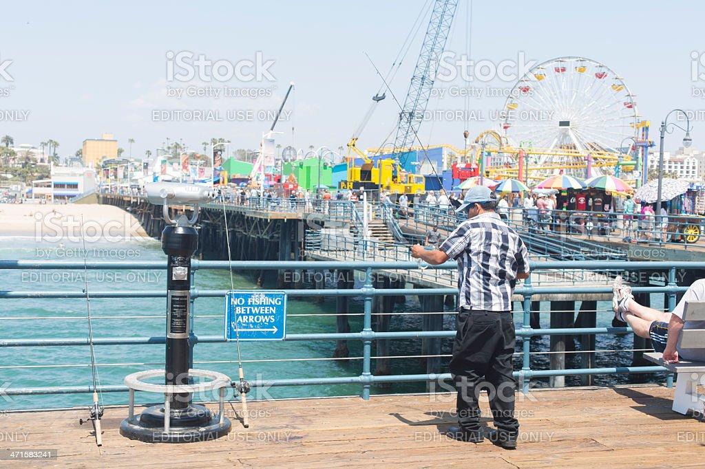 Santa Monica Pier Fisherman royalty-free stock photo