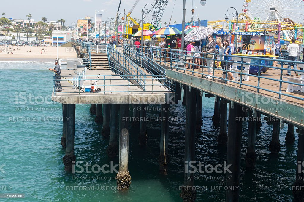 Santa Monica Pier Fisherman royalty-free stock photo