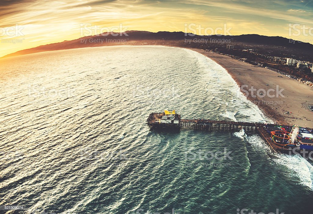 santa monica pier from the helicopter stock photo