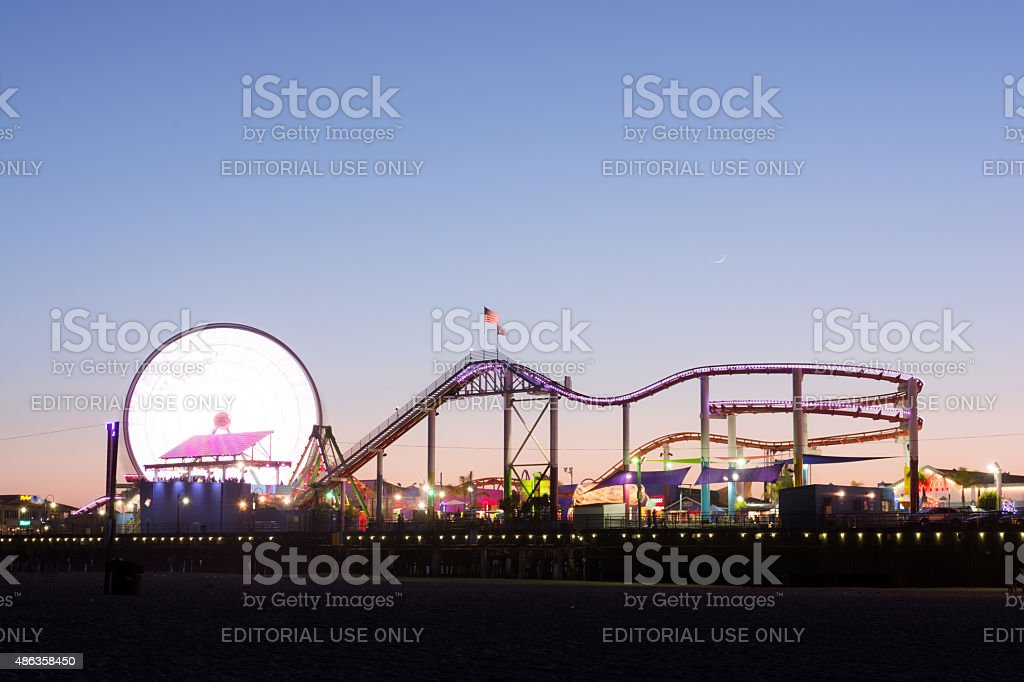 Santa Monica Pier in Los Angeles County at night stock photo