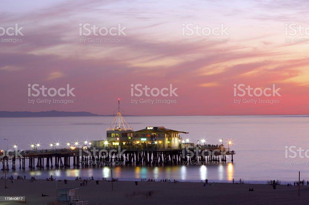 Santa Monica Pier in Twilight royalty-free stock photo