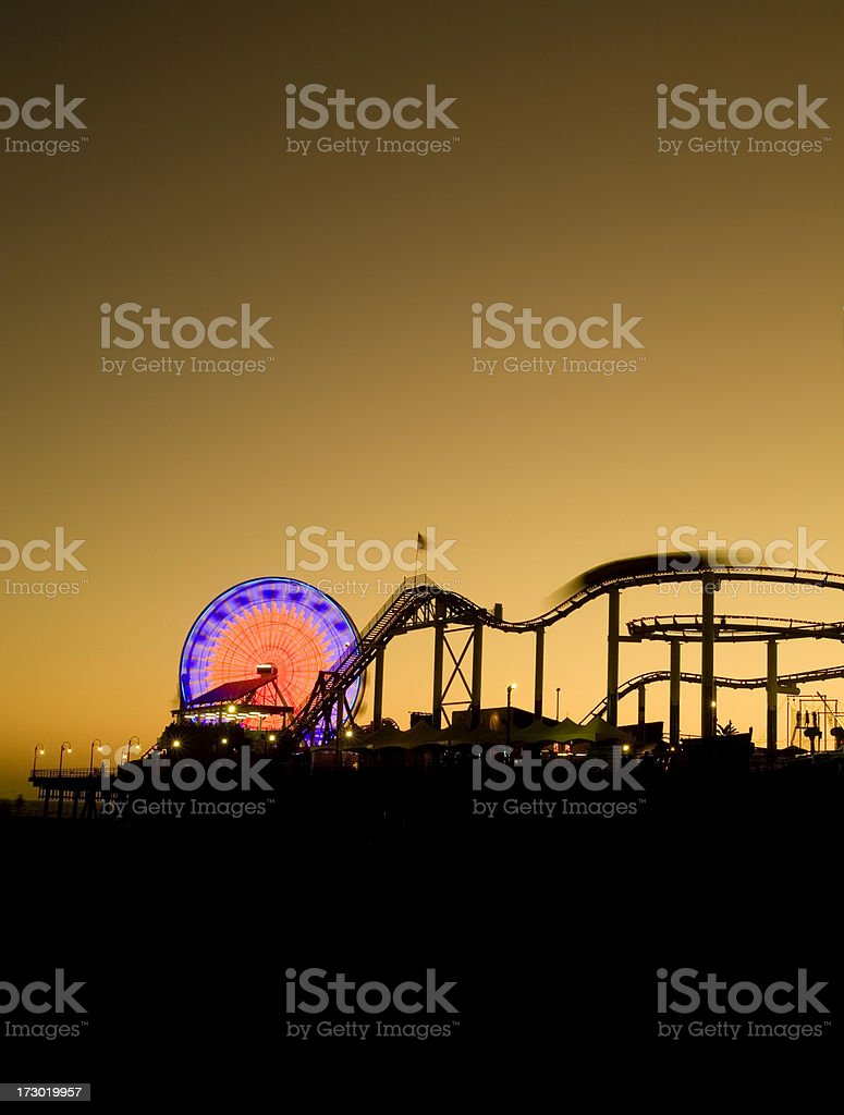 Santa Monica Pier Long Exposer at Twilight royalty-free stock photo