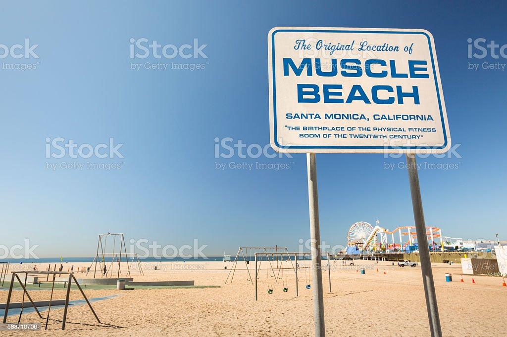 Santa Monica Pier Muscle Beach California stock photo