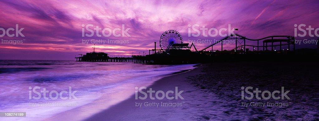 Santa Monica Pier Panorama, Toned royalty-free stock photo