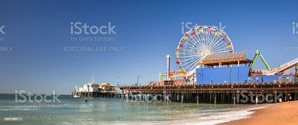 Santa Monica Pier panoramic California stock photo