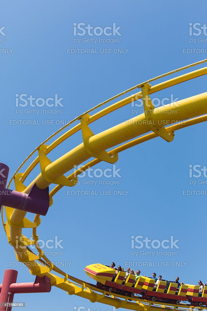Santa Monica pier roller coaster royalty-free stock photo