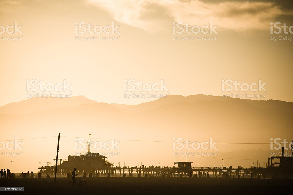 Santa Monica Pier Silhouette at Dusk royalty-free stock photo
