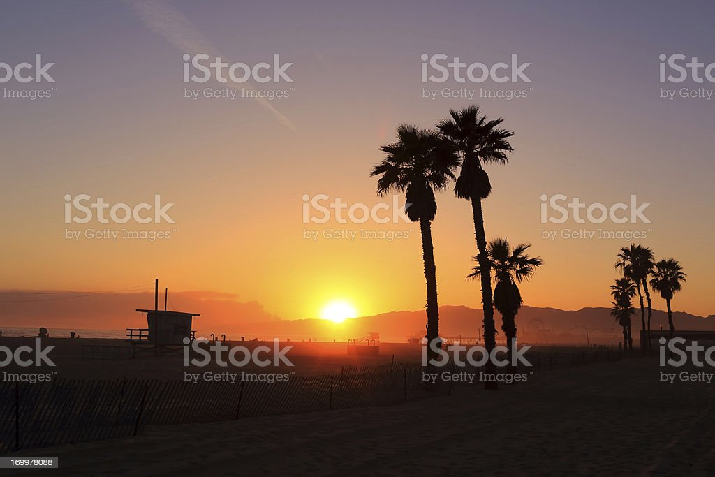 Santa Monica; Pier Sunset royalty-free stock photo