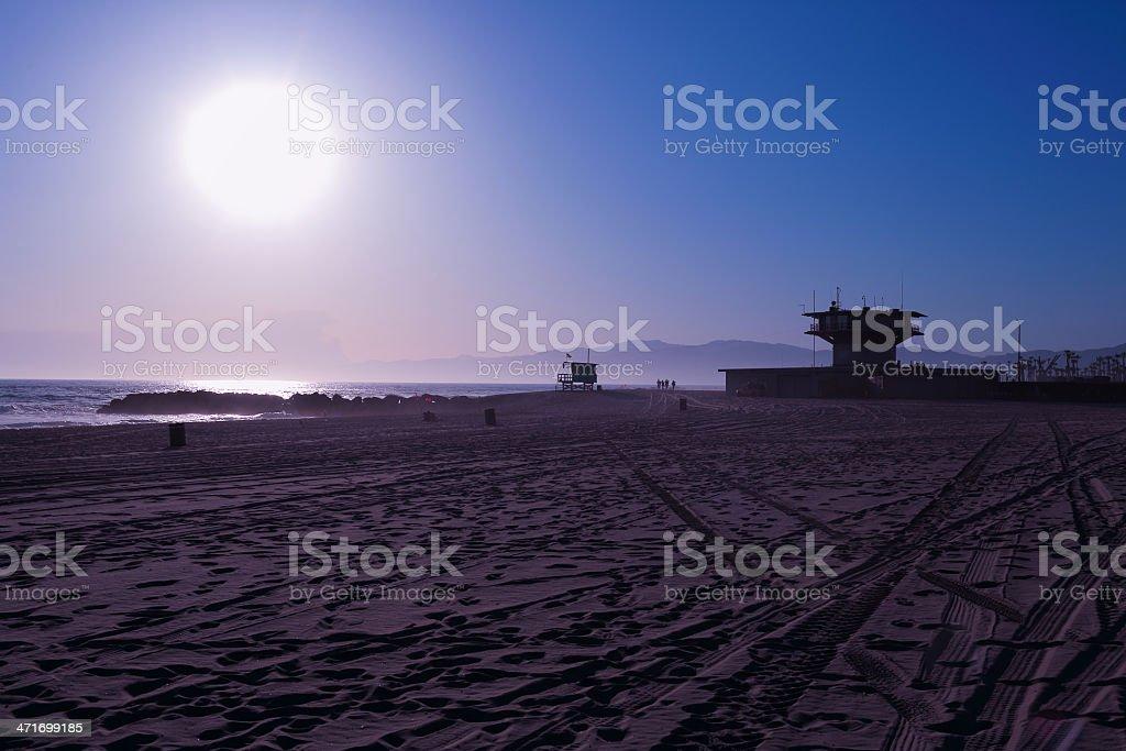 Santa Monica; Pier Sunset royalty-free stock photo