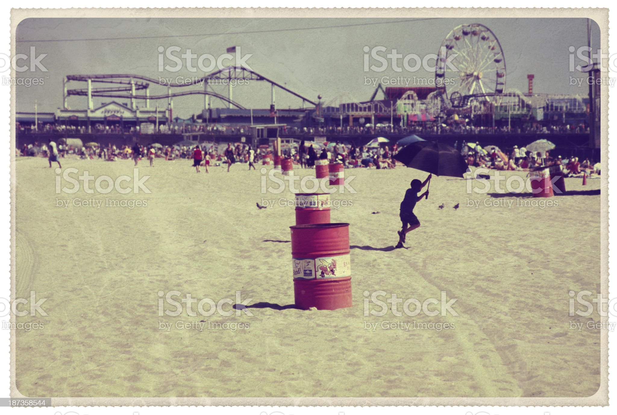 Santa Monica Pier - Vintage Postcard royalty-free stock photo