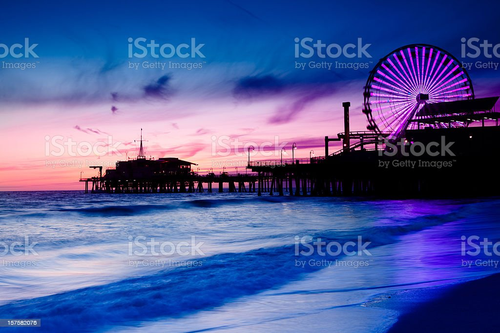 Santa Monica Pier with Ferris Wheel stock photo