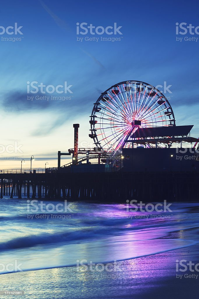 Santa Monica Pier with Ferris Wheel royalty-free stock photo