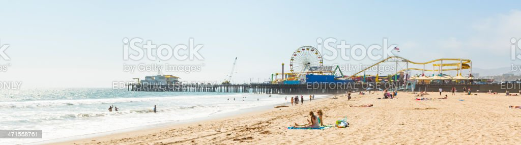 Santa Monica State Beach and Pier Panorama stock photo