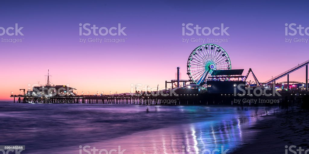 Santa Monica sunset stock photo