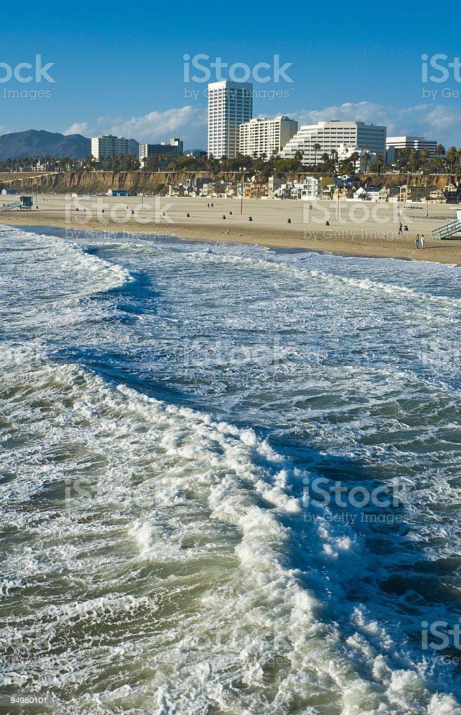 Santa Monica surf and shore stock photo