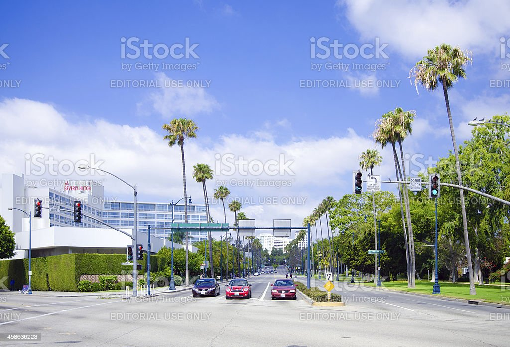 Santa Monica & Wilshire boulevards in Beverly Hills, CA stock photo
