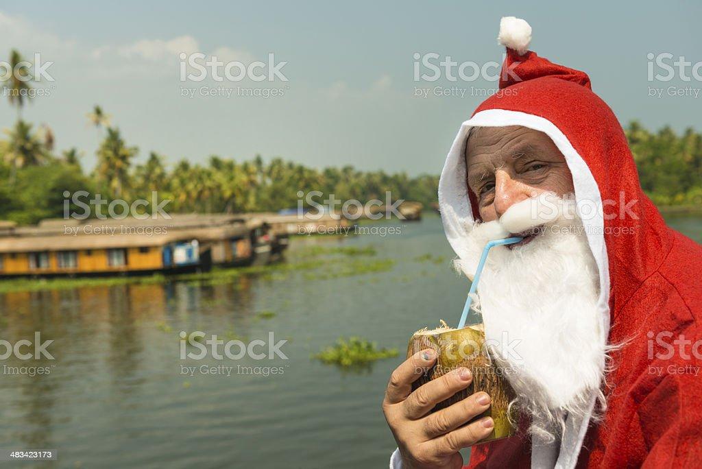 Santa on House boat royalty-free stock photo
