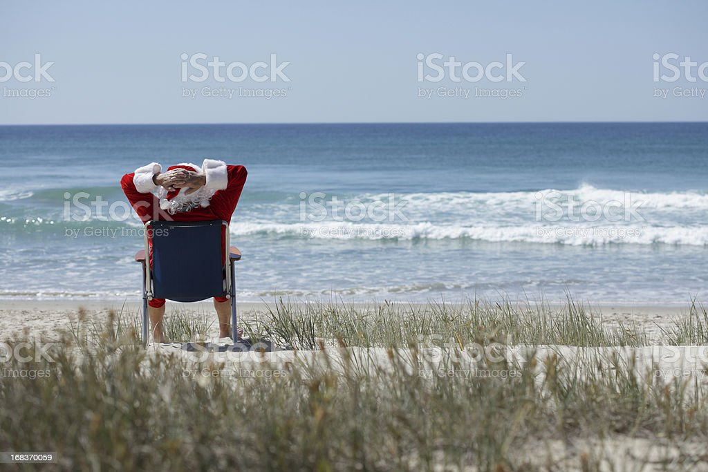 Santa on the Beach royalty-free stock photo