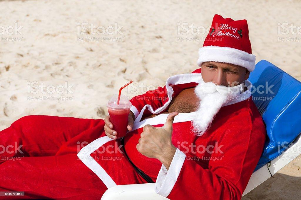 Santa on the Beach stock photo