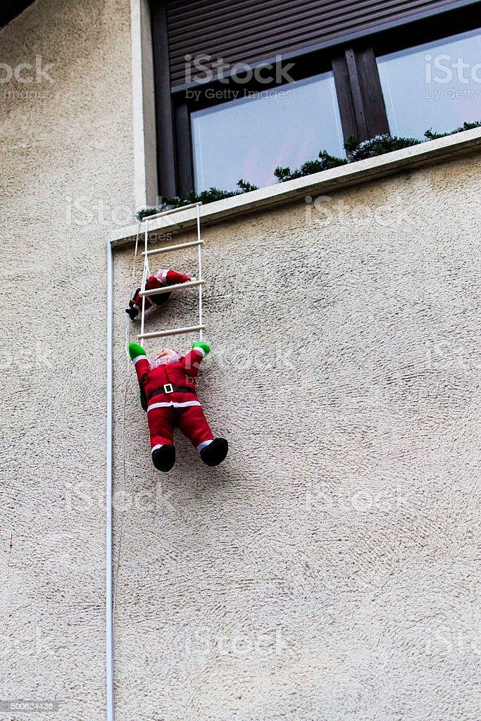 Santa on the wall stock photo