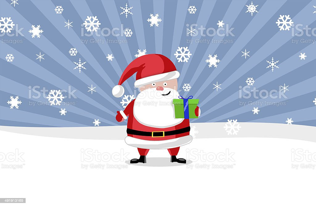 Santa ouside with a present royalty-free stock photo