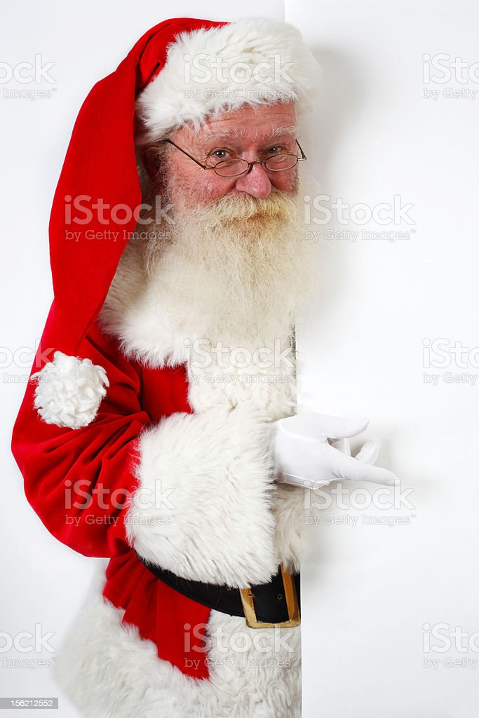 santa pointing at banner royalty-free stock photo