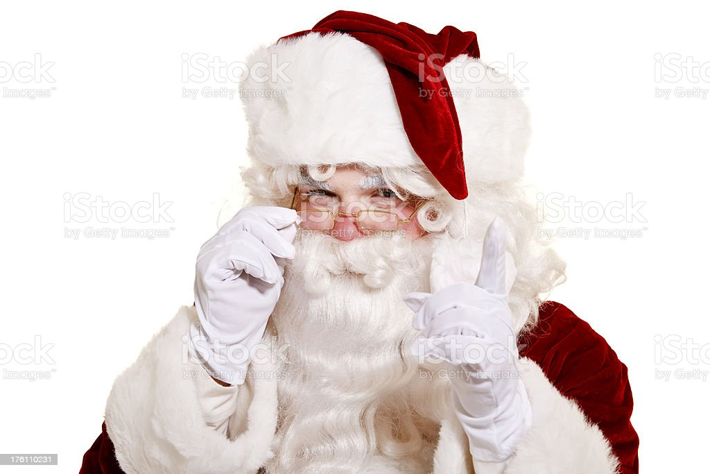 Santa pointing isolated on white royalty-free stock photo