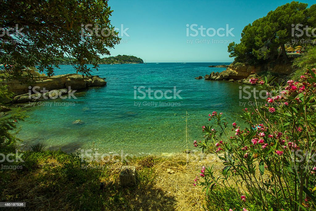 Santa Ponsa Bay with ships Majorca Palma de Mallorca stock photo