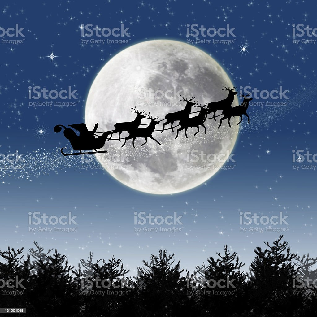 Santa Reindeer Sleigh stock photo