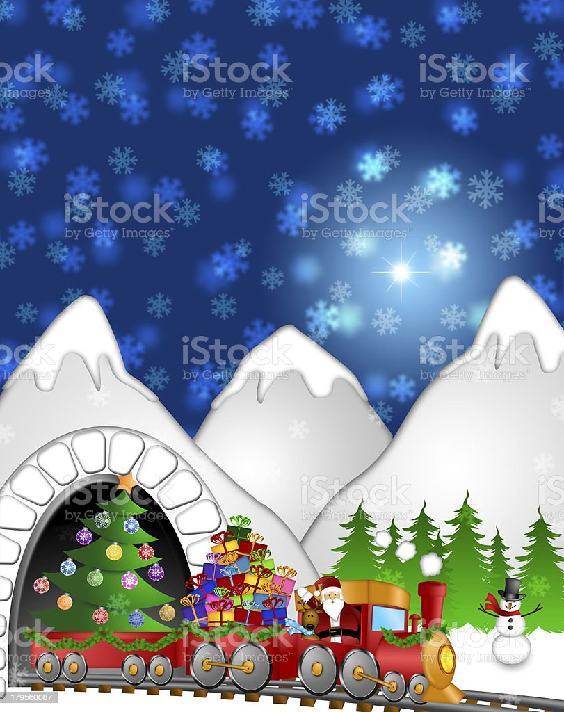 Santa Reindeer Snowman on Train In Winter Scene royalty-free stock photo