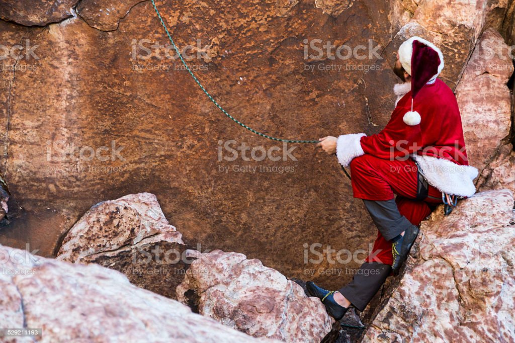 Santa Rock Climber stock photo