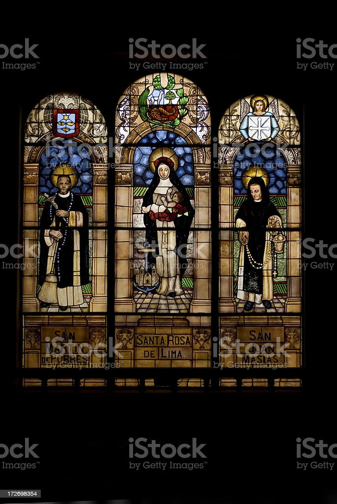 Santa Rosa de Lima stained glass window stock photo