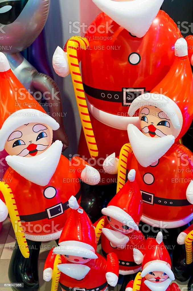 Santa shaped ballons stock photo