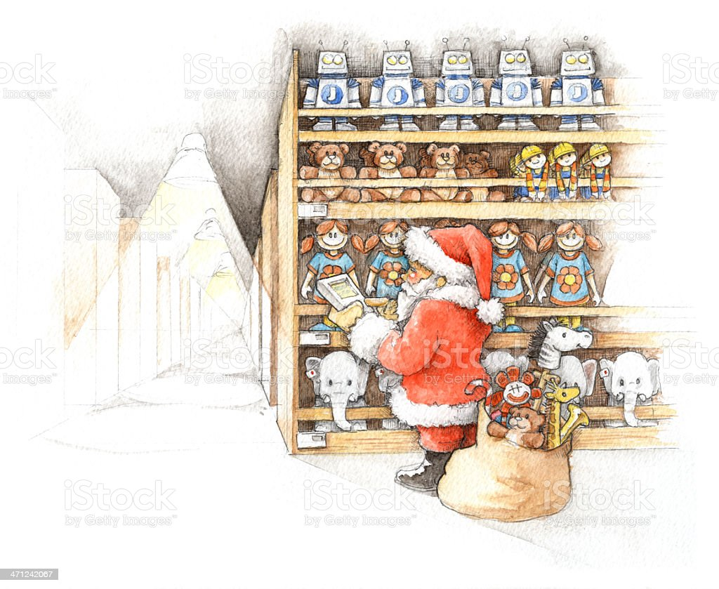 Santa Shopping for Toys royalty-free stock photo