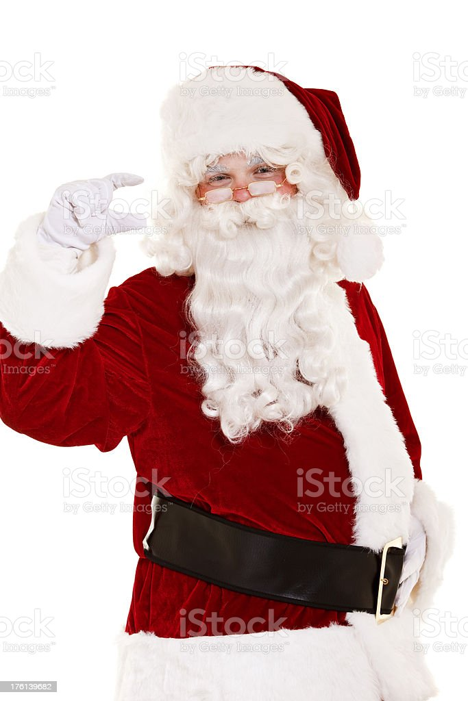 Santa showing anything isolated on white royalty-free stock photo