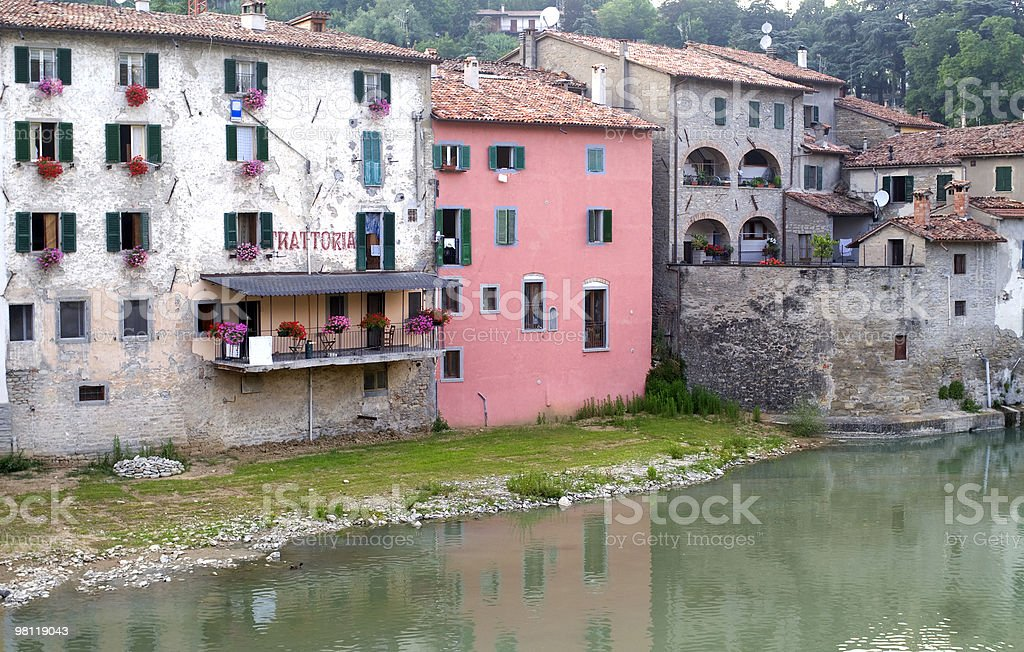 Santa Sofia, old italian town in the Apennines stock photo